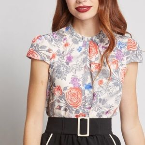 ModCloth • Floral Fancied Flare Cap Sleeve Blouse
